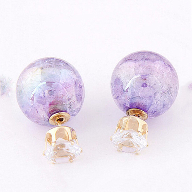 Trendy Double Sided Crystal And Gl Ball Earrings For Women Rose Yellow Purple Korean Ear
