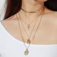 Fashion personality trend exaggerated Necklace retro cross multi-layer pendant clavicle