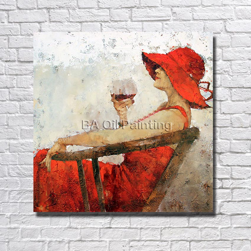 Handpainted Oil Painting On Canvas <font><b>Elegant</b></font> Women Pictures Wall Art <font><b>Home</b></font> Decoration <font><b>Home</b></font> <font><b>Decor</b></font> Wall Art no Framed Picture