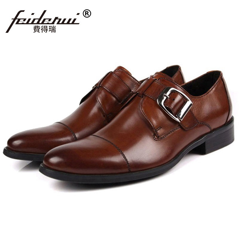 Fashion Round Toe Formal Man Monk Dress Shoes Male Genuine Leather Oxfords Luxury Brand Men's Wedding Bridal Footwear OD84 mycolen mens shoes round toe dress glossy wedding shoes patent leather luxury brand oxfords shoes black business footwear