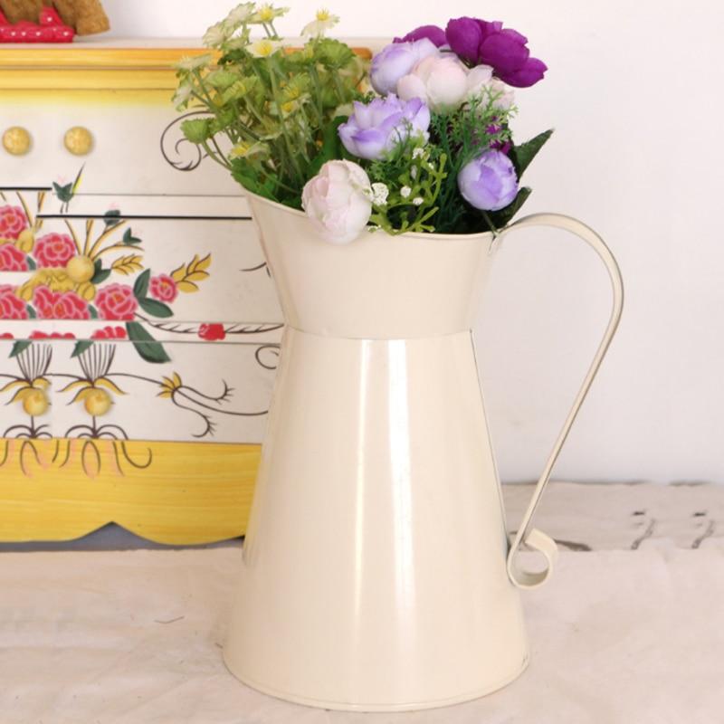 Painstaking Vintage Tall Metal Shabby Chic Cream Vase Enamel Pitcher Jug Wedding Home Decor