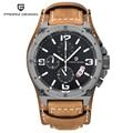 Función de Cronógrafo Relogio masculino Relojes Para Hombre de Lujo del Cuero Genuino Para Hombre Marca Militar Reloj de Pulsera reloj Cusual