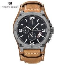 Función de Cronógrafo Relogio masculino Relojes Para Hombre de Lujo del Cuero Genuino Para Hombre Marca Militar Reloj de Pulsera reloj Ocasional