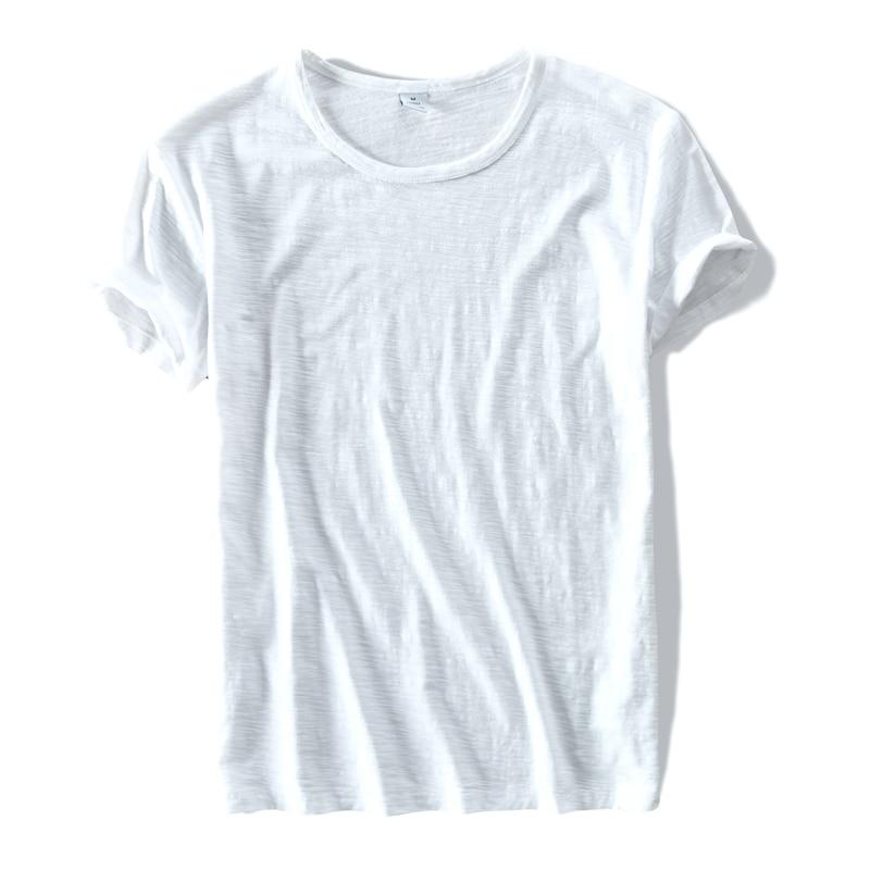 Yeni üslubda geyim markası T-Köynək Kişi Pambıq Qısa Qollu Yarı İncə Kişilər Toplar Tees ağ t-shirt Kişilər Solid TShirt Mens Camisa