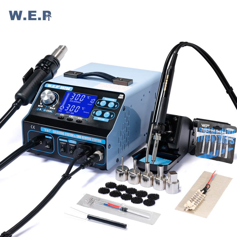 WEP 992DA+ BGA Rework Station Hot Air Gun Pump SMD Soldering Station Repair Board With Smoking Suction Solder Iron