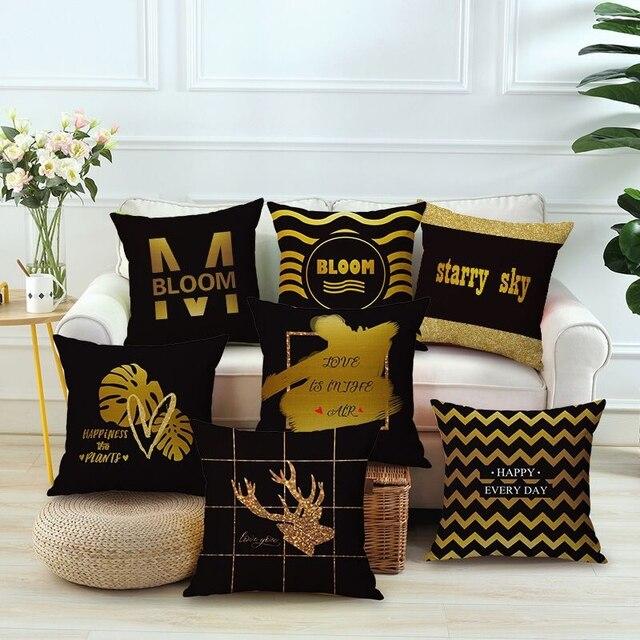 Throw Black Gold Decorations Gold Cushion Decorative Pillow Gold