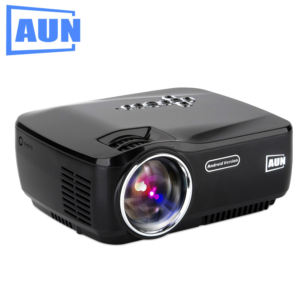 AUN Projector AM01P 1200 Lumens Set in Android 4 4 WIFI Bluetooth Certificated Video Projector Support