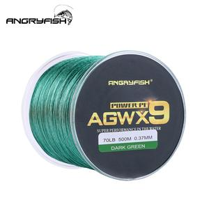 Image 1 - ANGRYFISH Diominate X9 PE Line 9 Strands Weaves Braided 500m/547yds Super Strong Fishing Line 15LB 100LB Dark Green