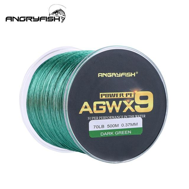 ANGRYFISH Diominate X9 PE Line 9 Strands Weaves Braided 500m/547yds Super Strong Fishing Line 15LB 100LB Dark Green