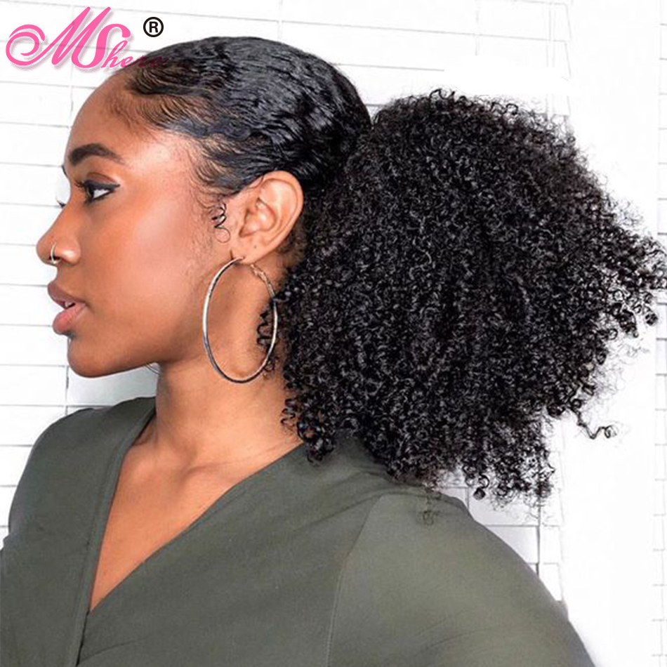 Afro Kinky Curly Ponytail For Women Natural Black Remy Hair 1 Piece Clip In Ponytails Drawstring