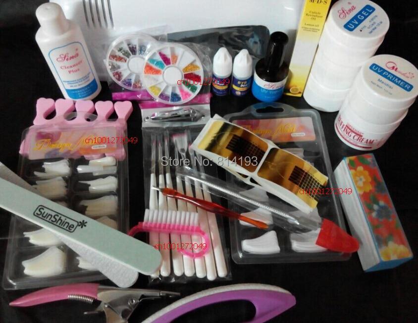 ᗑ】2018 Pro Nail Art UV Gel Kits Tool UV lamp Brush Remover nail ...