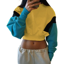 Autumn 2019 Fashion Patchwork Color Sweatshirts Womens Long Sleeve Sweatshirt Hoodies Tops Blusas Crop Pullover Plus Size Shirt