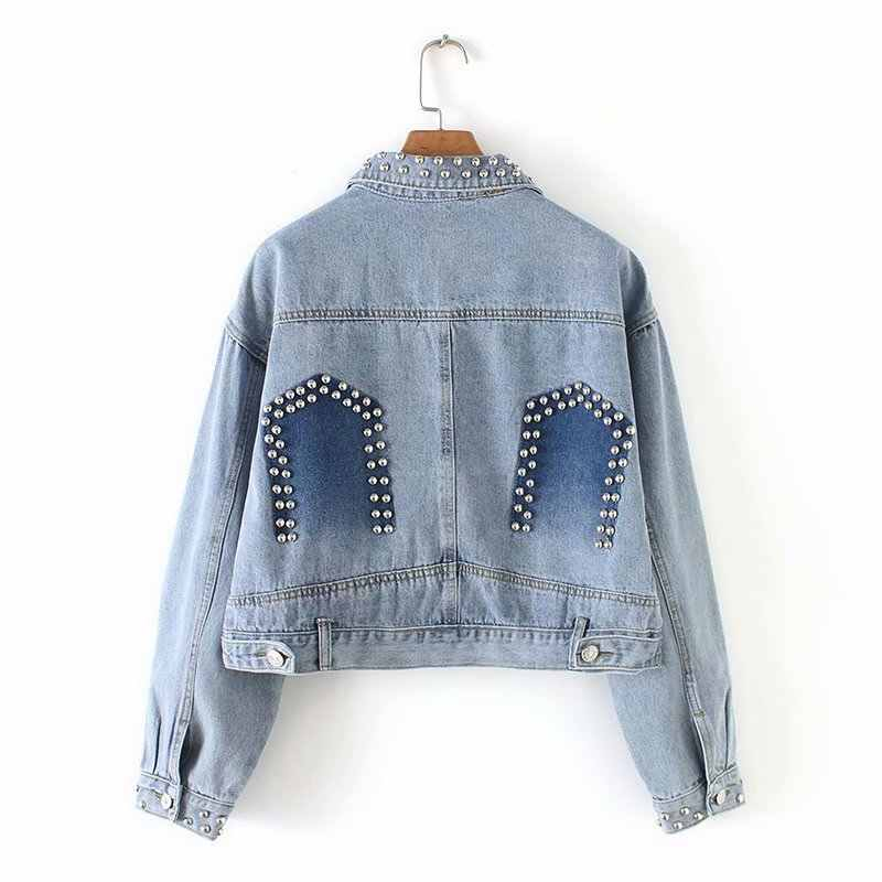 YD75-8726 Fashion Eropa dan Amerika Angin Keling Dekoratif Jaket Jeans
