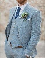 Summer Light Blue Linen Men Suits Wedding Groom Tuxedos 3 Pieces 2 Buttons Groomsmen Suit (Jacket+Vest+Pants) Beach Wedding Suit