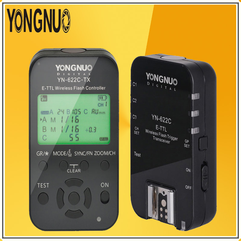 YONGNUO YN-622C-TX Transmitte + YN622C Single Transceiver Kit 2.4G Wireless TTL Flash Trigger Transceiver Controller For Canon yn e3 rt ttl radio trigger speedlite transmitter as st e3 rt for canon 600ex rt new arrival