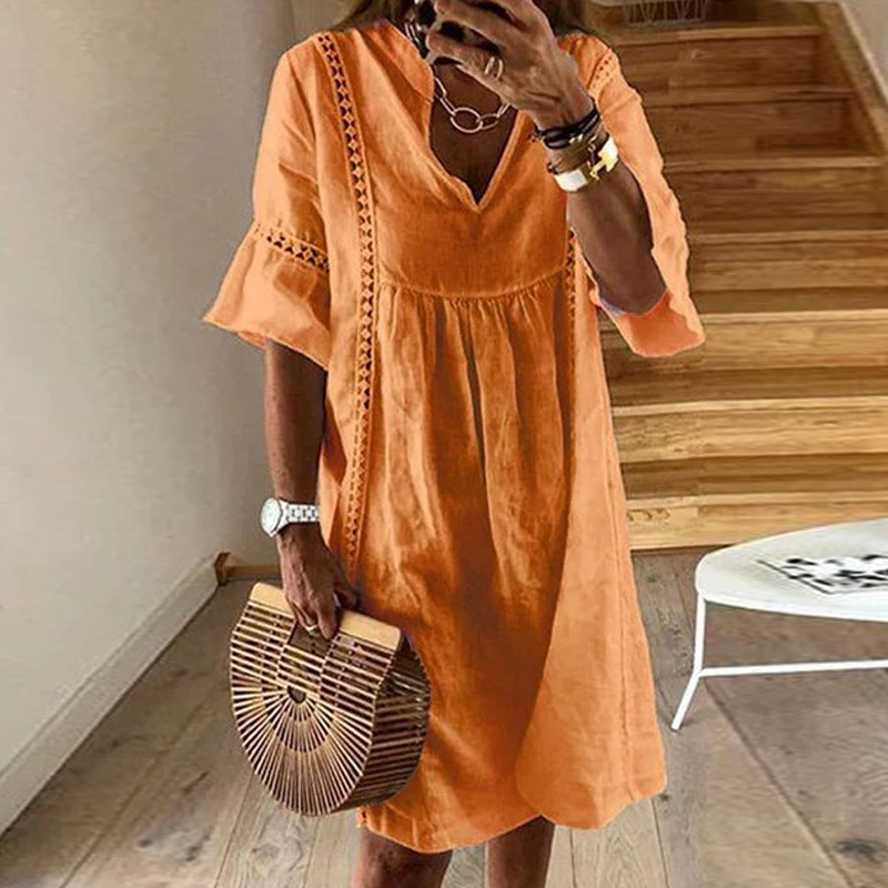 1f70ab87e5 Lipswag 2XL Sexy Hollow Out V neck Sundress 2019 Summer Patchwork ...