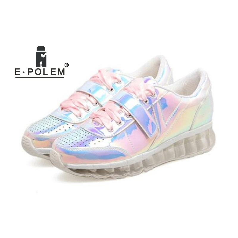 2018 Fashion Women Reflective Laser Flat Shoes Thick Bottom Platform Shoes Pink/Silver Girls Casual Harajuku Creepers Shoes
