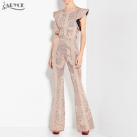 Adyce 2018 New Bandage Jumpsuits Women Long Rompers Bodysuit Black Khaki Boot Cut Celebrity Party Long Jumpsuit Clubwear