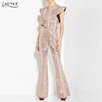 Adyce 2018 New Bandage Jumpsuits Women Long Rompers Bodysuit Black Khaki Boot Cut Celebrity Party Long Jumpsuit Clubwear