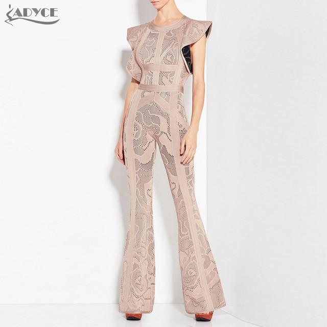 046ff16cce Adyce 2018 Nowy Bandaż Kombinezony Kobiety Długie Pajacyki Body Czarny  Khaki Startowe Cut Celebrity Party Długie