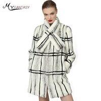 M.Y.FANSTY 2019 Noble Winter Nine Quarter Mink Coat Long Plaid Real Fur Coat Classical Full Pelt Criss Cross Women's Mink Coats
