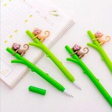 цена на 2pcs/lot Little monkey climbing tree gel pen 0.38mm Gel Ink pen black pen student kawaii office supplies Neutral pen stationery