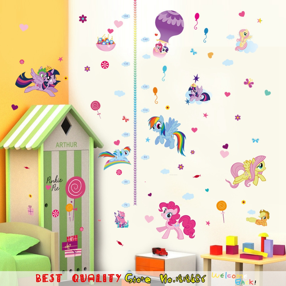 popular pony wall decals buy cheap pony wall decals lots from cute cartoon wall stickers for kids my little pony height measure growth chart wall decals children