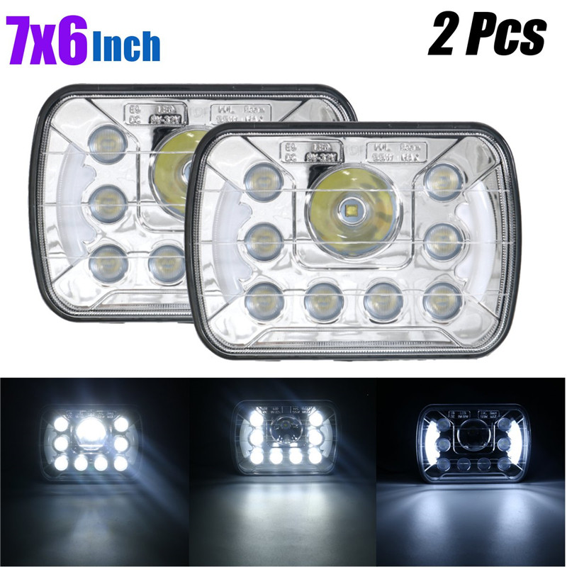 2Pcs 7x6Inch 55W LED Headlights H4 Light DRL + High/Low Beam Sealed Clear Lens H6054 H6014 LED Working Light аккумулятор yoobao yb 6014 10400mah green