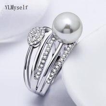 Новое кольцо с большим жемчугом трендовые белые красивые украшения