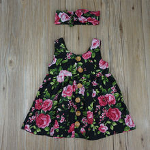 Baby Girl Clothes Button Floral Dress Wedding Clothing