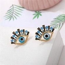 Hip Hop Vintage Eye Shape Stud Earrings For Women Fashion Personality Rhinestone Earring Oorbellen Femme Trendy Ear Jewelry