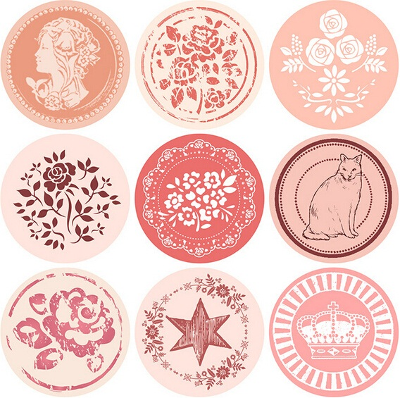 1pack  Vintage Romantic Pattern Series Round Design Kraft Seal Sticker Stationery Office School Supplies DIY Gift  Labels