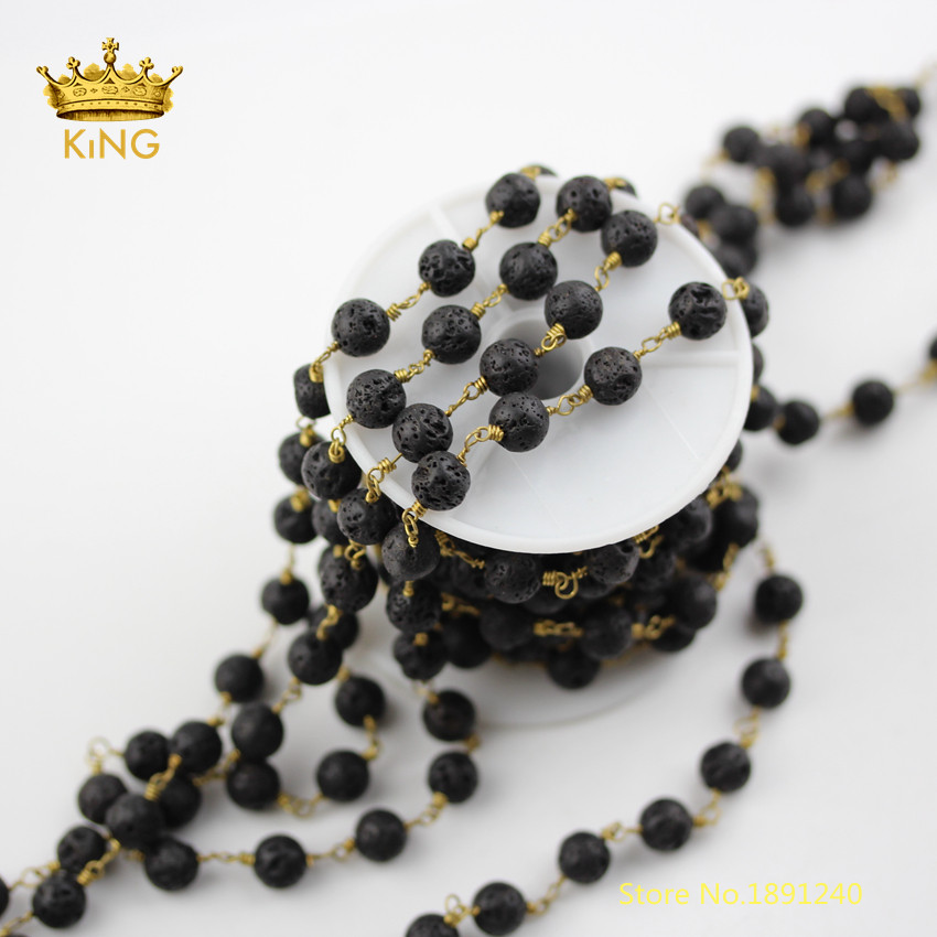 5meters 8mm Black Lava Beads Rosary Chains Findings Bulk,Round Lava Wire Wrapped Plated Bronze Copper Lava Chains Necklace ZJ237