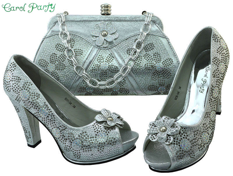 New Arrival Sliver Color Italian Shoe with Matching Bags High Quality African Shoe and Bag Set Italian Design Italy Style BCH-38 new arrival design italian shoes with matching bags set nice quality african shoes and bag sets with rhinestones hlu1 17