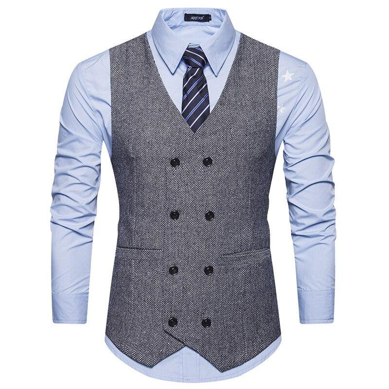 100% Kwaliteit Lente Herfst Mannen Retro Jacket Vest Pak Vest Mannen Mouwloze Beige Grijs Navy Vest Fashion Vest Formele Suit Vest Aromatisch Karakter En Aangename Smaak