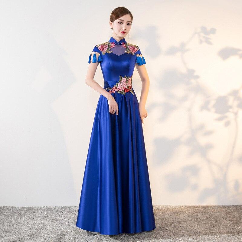b55ad7bc5ca Синий современные Cheongsam Сексуальная Qipao Для женщин длинные  традиционные китайские платья Восточный Свадебные платья вечернее платье