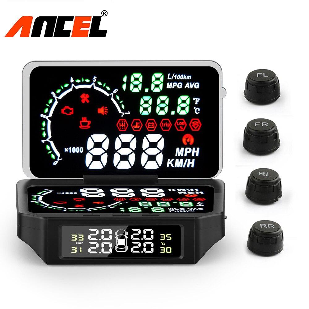 Ancel HUD Pressure-Monitoring-System-Speed OBD Alarm-Tire Temperature-Fuel-Consumption