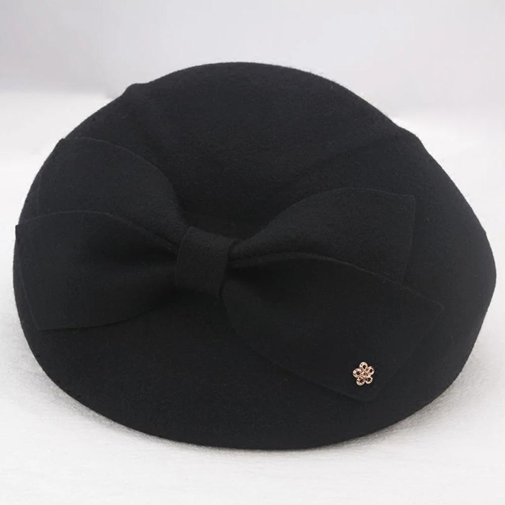 Image 3 - 2019 Elegant Wool bow Fedora Hats Lady British Style Soft Felt Cap Women Wedding Party Hat Vintage Cocktail Fashion Derby FedoraWomens Fedoras   -