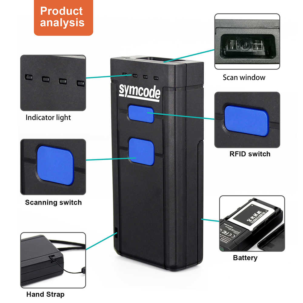 Symcode 1D Bluetooth Barcode Scanner USB 1D CCD Wireless Bluetooth Barcode  Reader Wireless Transfer Distance 100 Meters