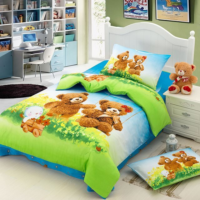 teddy bear cartoon cute baby bedding sets kids children. Black Bedroom Furniture Sets. Home Design Ideas