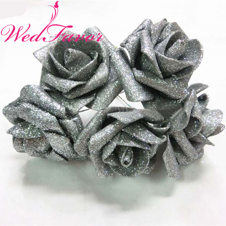 Image 3 - 50pcs 5 6cm Artificial Glittered EVA Foam Rose Flower Bridal Bouquet For Home Event Wedding Decoration-in Artificial & Dried Flowers from Home & Garden