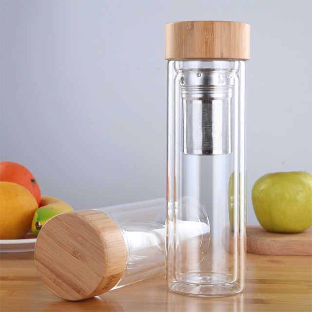 Tea Bottle Glass Bottled Water Bottle Infuser With Filter Strainer Borosilica Double Wall Drink Bamboo Lid 450ml Car Drinkware 2