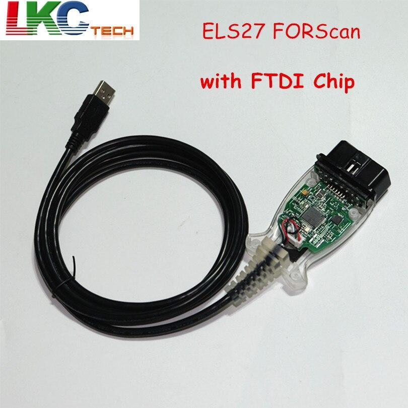2018 Best Quality ELS27 FORScan Scanner With FTDI Chip FT232RL ELS27 OBD2 Code Reader Support ELM327 J2534 USB Diagnostic Cable