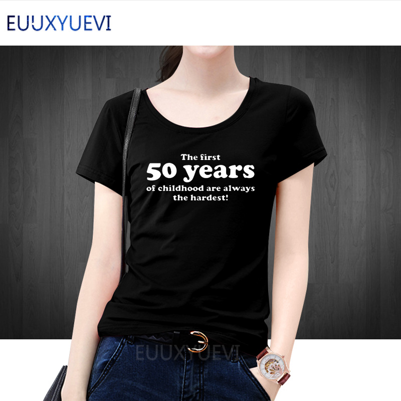 Detail Feedback Questions About Women Summer Top 50 Years Of Childhood T Shirt Slogan 50th Birthday Gift Cotton Short Sleeves Camiseta Tee On