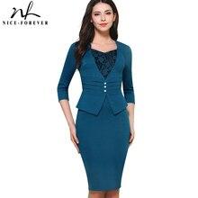 Güzel sonsuza kadar Vintage kısa zarif dantel rahat çalışma 3/4 kollu ter kalp boyun Bodycon ince kadın ofis kalem elbise B361