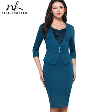 Nice forever Vintage Brief Elegant Lace Casual Work 3/4 Sleeve Sweat Heart Neck Bodycon Slim Women Office Pencil Dress B361