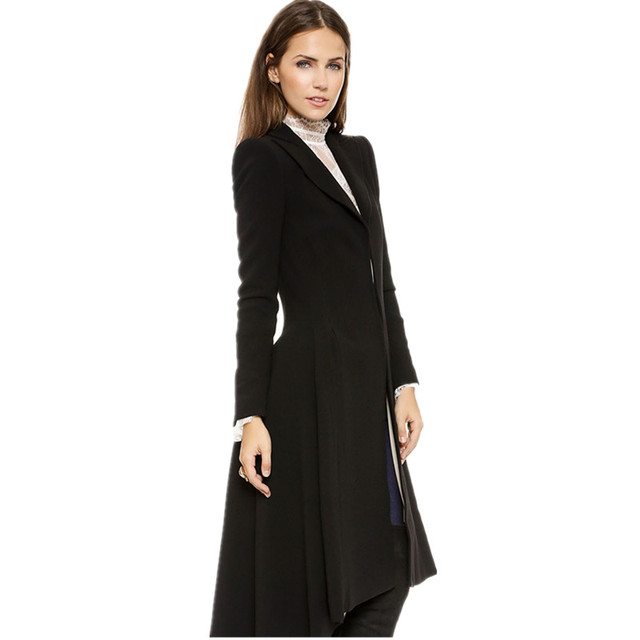 Autumn Winter Women Swallowtail Woolen Long Black Trench 2