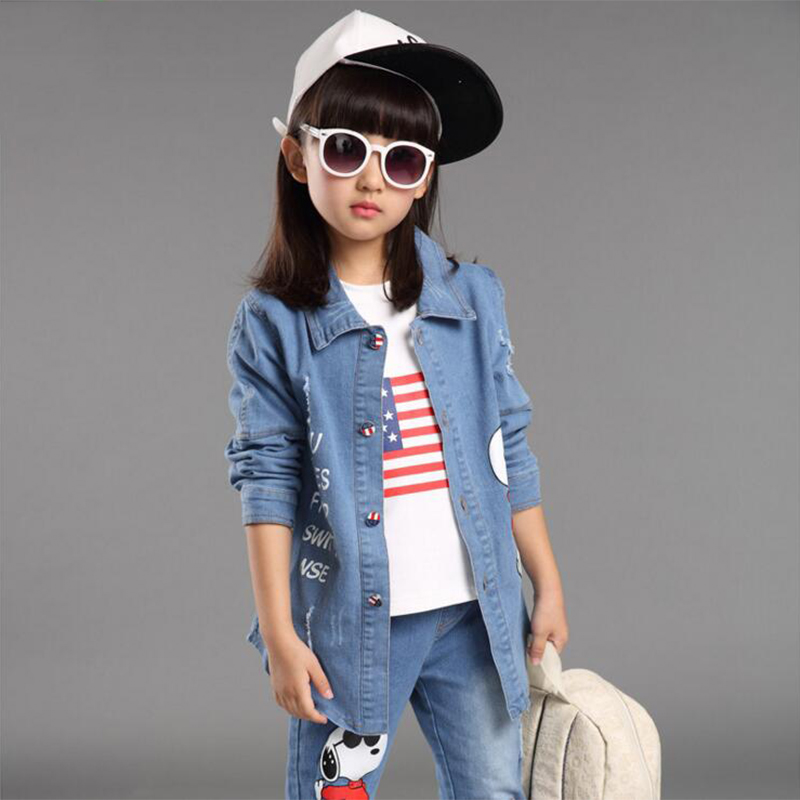 ФОТО kids girls clothing sets new Spring fashion girls denim suits 3pcs cartoon printed outwear jacket+T-shirt+jeans pants