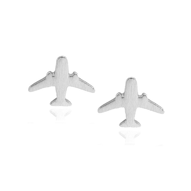 Fashion Plane Stud Earrings Jewelry Women Party Airplane Gift Engagement Cute Lady Aircraft 925 Sterling