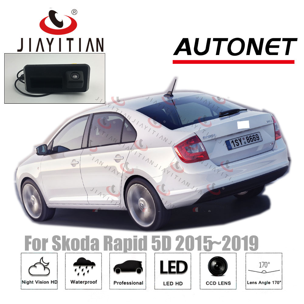 JYT Rear View Camera For Skoda Rapid 2016 2017 2018 2019 Instead of Original Factory Trunk Handle Camera Reverse camera CCD